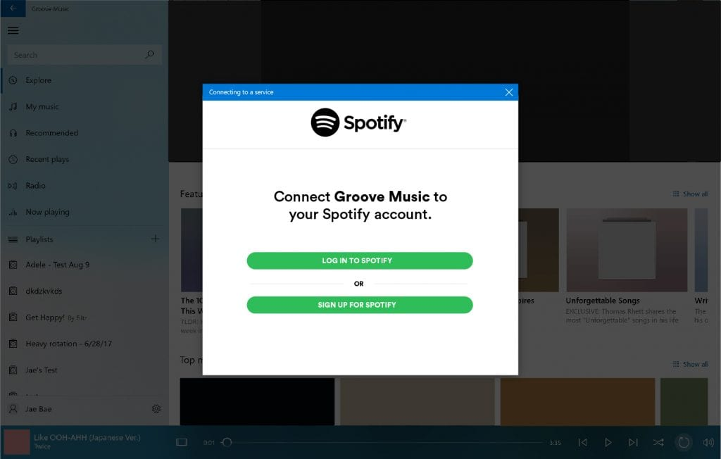 Groove Music Spotify Paso 2
