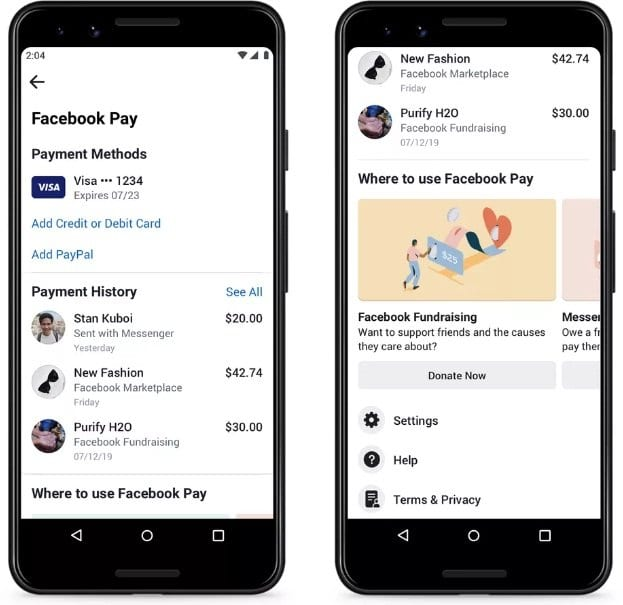 Pagos en WhatsApp Facebook Pay