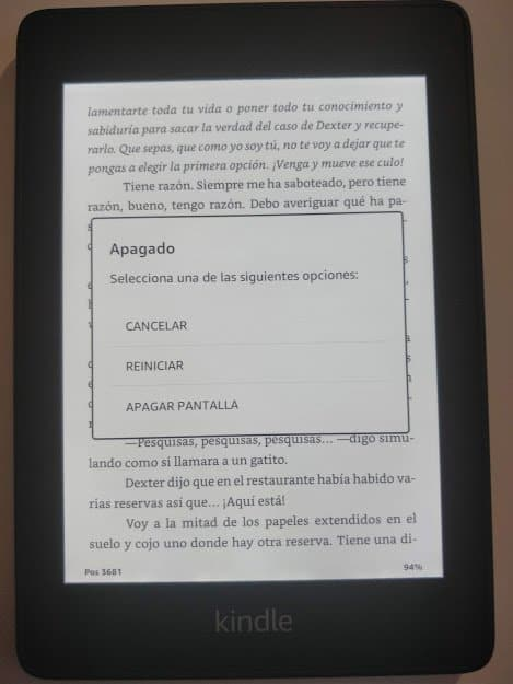 Kindle Amazon pantalla alta resolución apagar resistente al agua