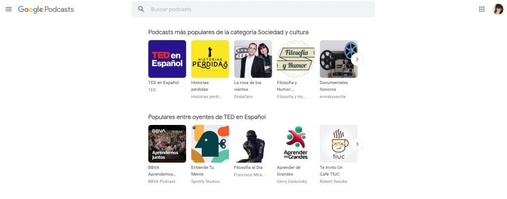 pagina inicio google podcasts via web